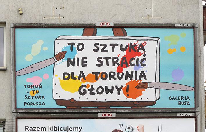 """Praca Galerii Rusz  w ramach wystawy """"Szczęśliwe miasto"""" realizowanej w 2016 roku we Wrocławiu i przy głównych drogach kraju. [fot. materiały organizatora]"""