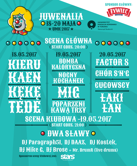 Oficjalny plakat Cyrkowych Juwenaliów 2017 | fot. facebook.com/juwenalia.umk.torun