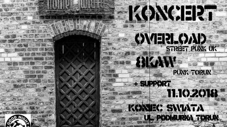 Plakat reklamujący koncert zespołu Overload i 8kaw w Końcu Świata [fot. fanpage na Facebooku - Koniec Świata]