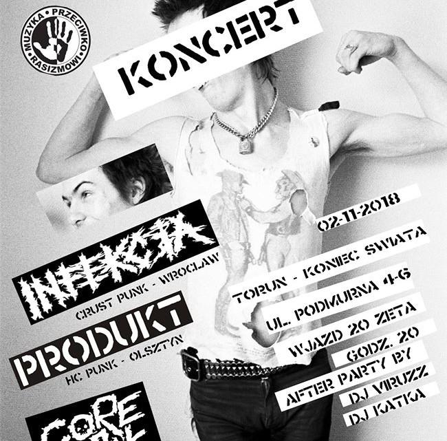 Plakat reklamujący koncert zespołów Infekcja, Produkt i CoreBall  w Końcu Świata [fot. fanpage na Facebooku - Koniec Świata]