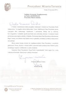 Treść kondolencji prezydenta Torunia Michała Zaleskiego.
