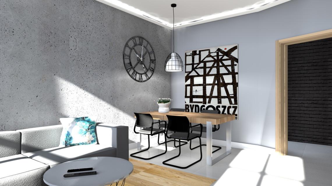 Projekt wnętrza salonu w Bydgoszczy