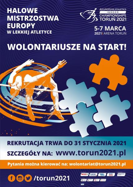 Plakat rekrutacyjny Halowych Mistrzostw Europy 2021.